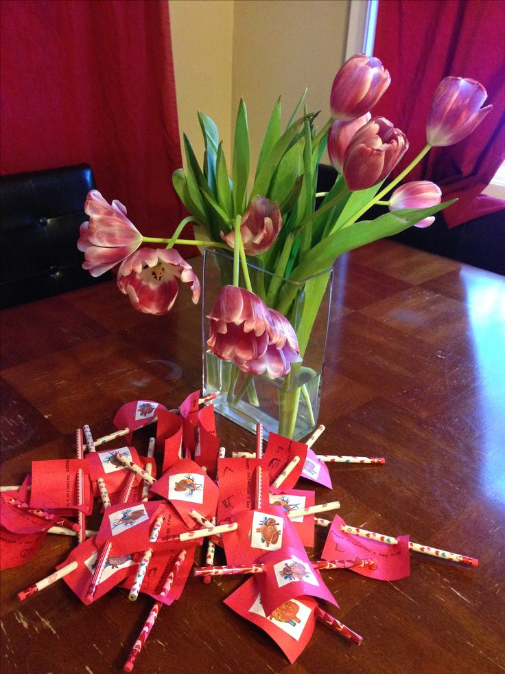 Homemade preschool valentines with a pencil.