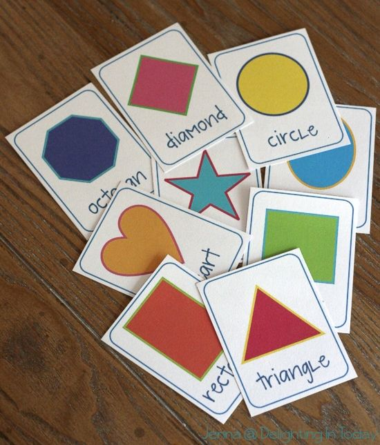 shape flashcards - make larger shapes to have the kids match the name to the shape or do a sort.