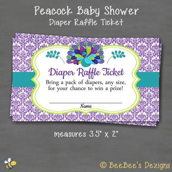 INSTANT DOWNLOAD Peacock Baby Shower Diaper by BeeBeesDezigns