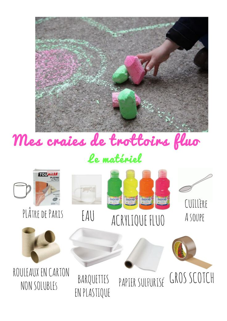 Mes craies de trottoirs fluo. #DIYforkids | By Little Ones