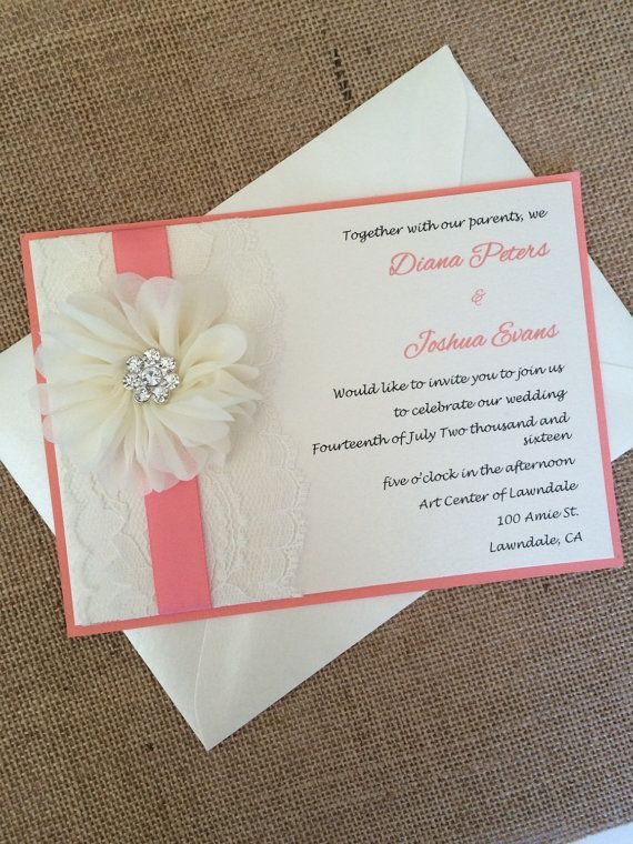 Hey, I Found This Really Awesome Etsy Listing At Https://www. Shabby Chic InvitationsCoral  Wedding ...