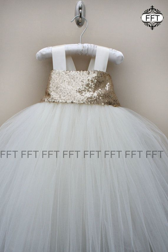 Gold Sequin Flower Girl Tutu Dress by FrillyFairyTales on Etsy