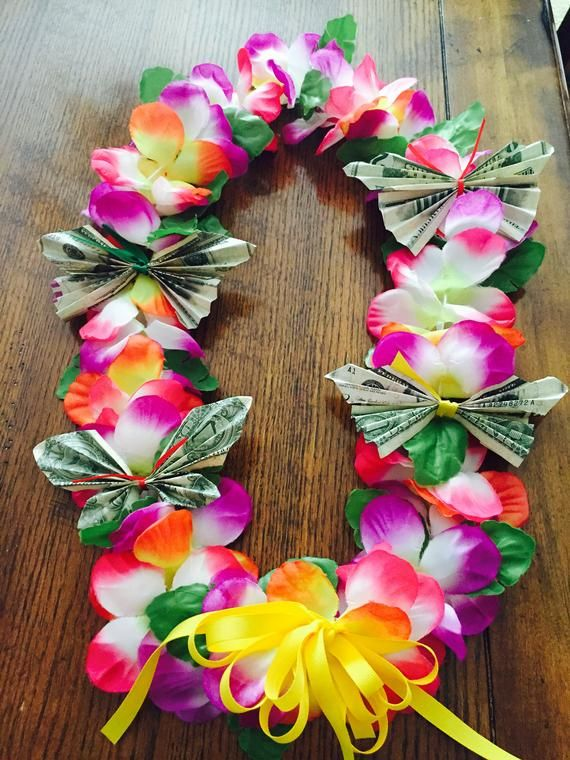 Floral party Butterfly Money Lei with 100 dollars, graduation lei, graduation gift