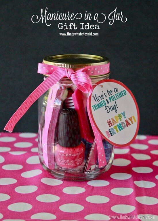 Make a simple Manicure in a Jar as a fun, inexpensive birthday gift for your friends! Free Birthday Tag Printable offered as well!