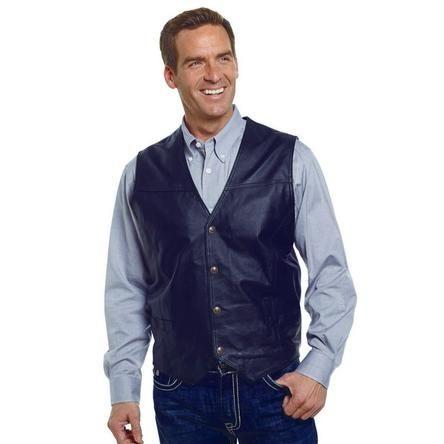 Cripple Creek Men's Outerwear Men's Button Front Leather Vest