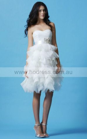 2015 Spring Princess Sweetheart Organza Short Wedding Dresses,Hall Wedding Gowns
