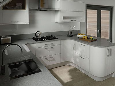 An effective U-Shaped layout typically involves more space than is available in a small kitchen. This plan which is more suited to medium sized kitchens may still give you some ideas that you can incorporate into your final kitchen design.