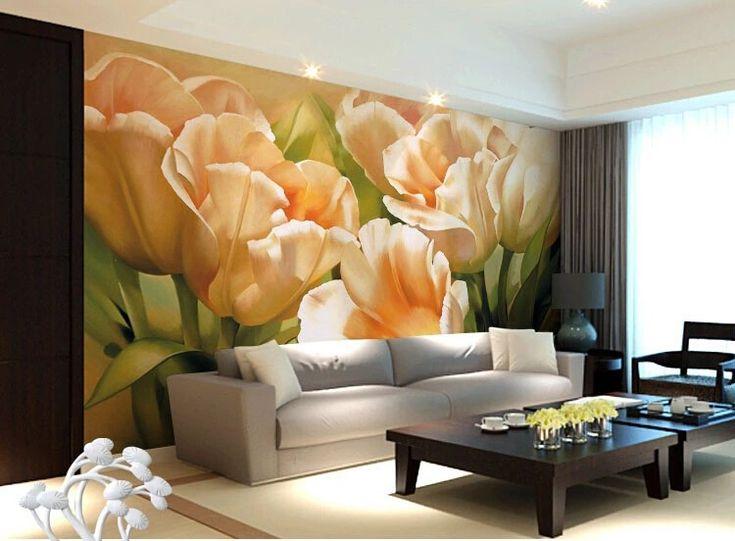 Пользовательские фото обои, Ретро цветочные фрески для гостиной ресторан фоне стены водонепроницаемый тисненые обои купить на AliExpress