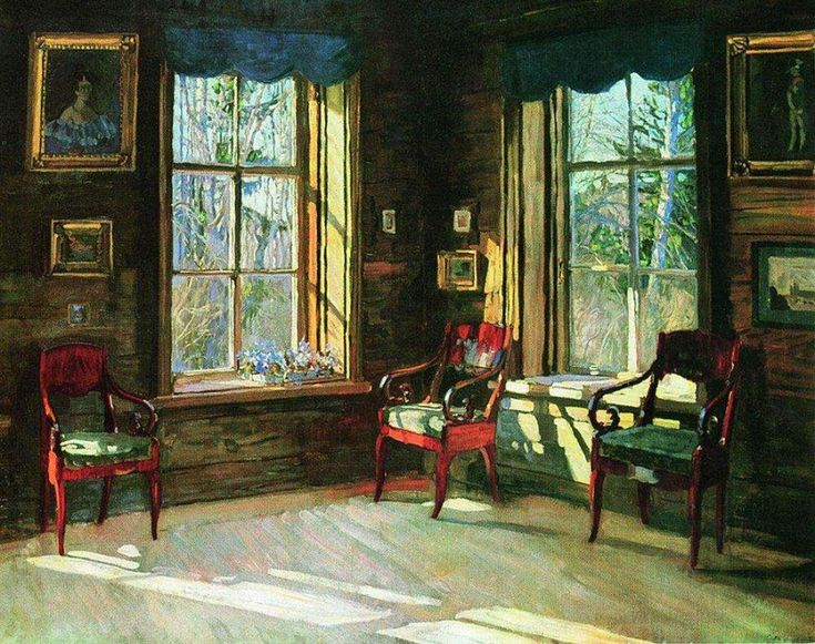 At the beginning of XX century Stanislav Zhukovsky, a great lover of antiquity, especially Pushkin's time. Its interiors are always open to the world. Interior motives iridescent live in color