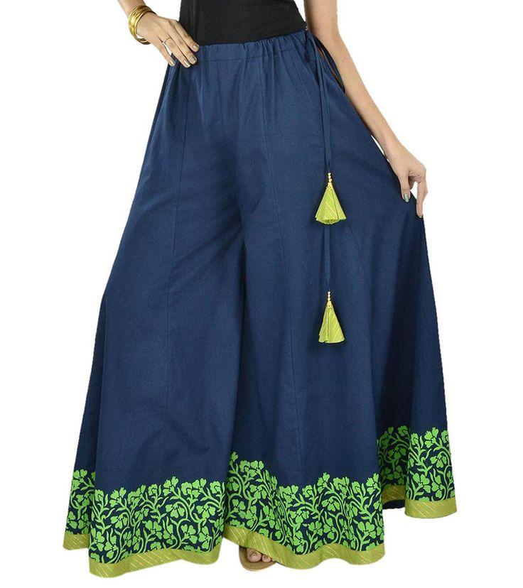 Blue Green Hand Block Printed Cotton Kalidaar #Sharara #Indianroots