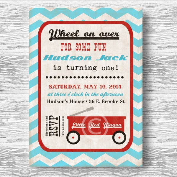Vintage Little Red Wagon Invitation for Boys Birthday Party or Baby Shower DIY Little Man Invite by BeeAndDaisy. $12.00, via Etsy.