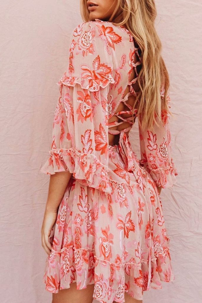 35043624b08c Long Lace up summer floral dress - Red   S in 2019