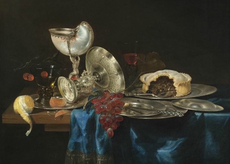 Gerrit Willemsz Heda (c.1622/1626–1649) — Still Life with a Nautilus Cup, a Meat Pie, a Bunch of Grapes, Some Pewter Plates and a Partly-Peeled Lemon, All Arranged on a Partly-Draped Table, 1646   (1200x859)