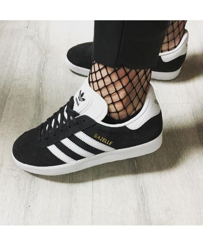 on feet images of best choice lace up in Adidas Gazelle Womens Black White Trainers | Adidas gazelle women ...