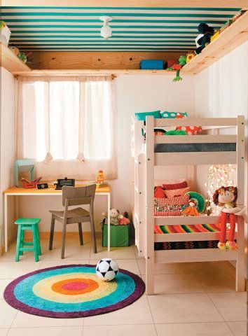 Colorful kids space - stripes on the ceiling!