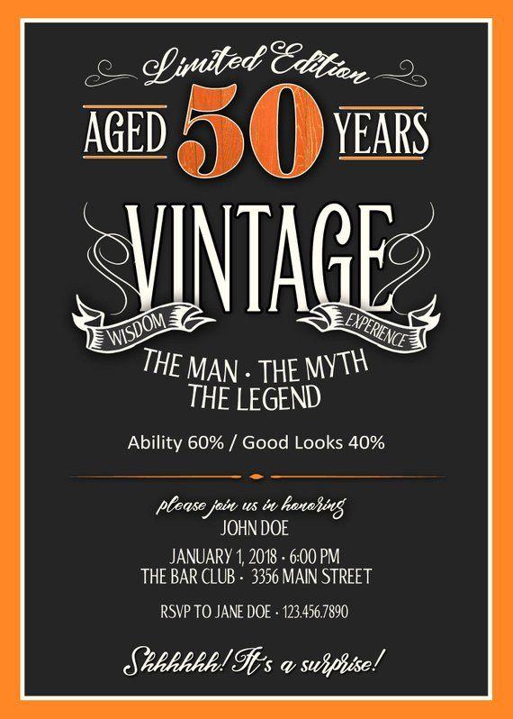 50th Birthday Invitation For Men Jpeg Printable Aged To Etsy In 2021 50th Birthday Invitations 40th Birthday Invitations 60th Birthday Invitations