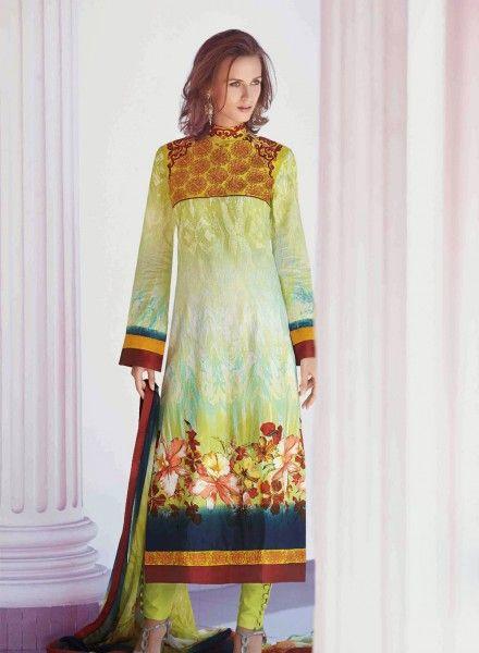 Green digital print punjabi salwar kameez in cotton D15153