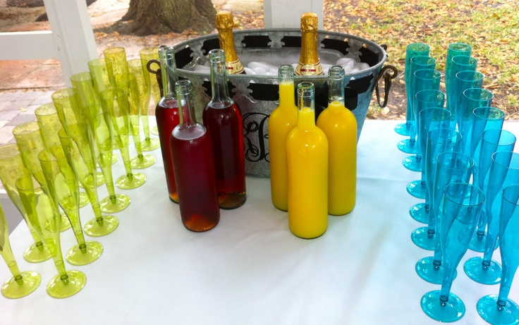 Brunch -mimosa bar!! Like that they used wine bottles