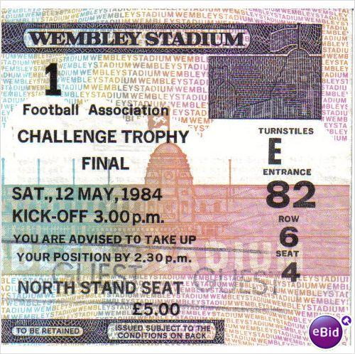 Northwich Victoria v Bangor 12/05/1984 FA Trophy Final Football Ticket Stub