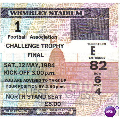 Northwich Victoria v Bangor 12/05/1984 FA Trophy Final Football Ticket Stub