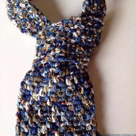 Cravatta Uomo ad Uncinetto Blu  Crochet mens Blue e di UFFstore, €35.00