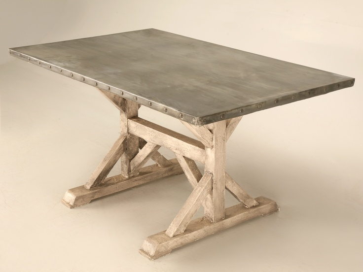 New Zinc Top Table With Painted Base Made In The Old Plank Workshop