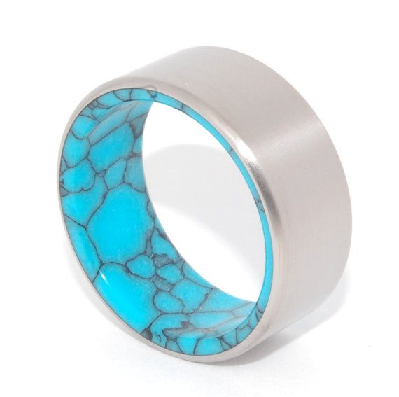Lake Baikal  Titanium and Turquoise Wedding by MinterandRichterDes, $335.00
