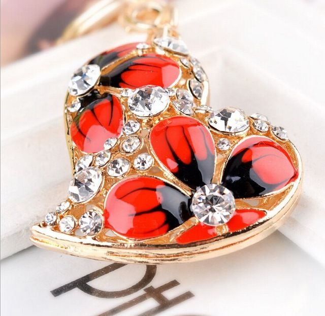 Esmalte coração de cristal strass chaveiro chaveiro bolsa charme banhado a ouro de presente