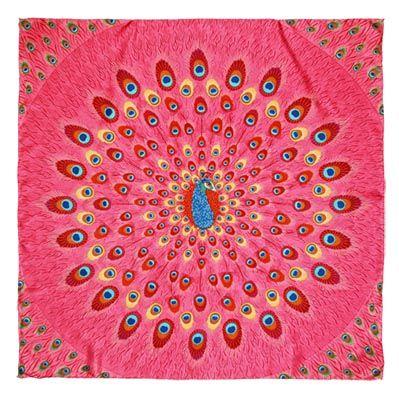#Mascada Pavo Real Rosa. #Diseño #Estilo #México #PinedaCovalin