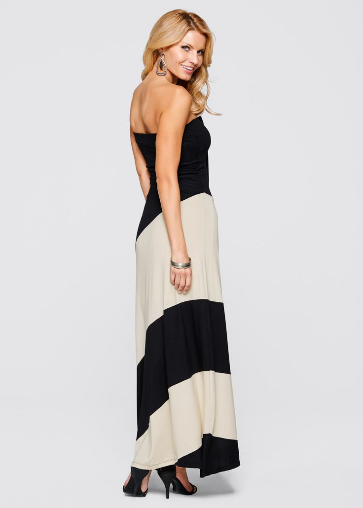 Jurk zwart/beige - BODYFLIRT boutique nu in de onlineshop van bonprix.nl vanaf ? 27.99 bestellen. Verleidelijke chic! Uitlopende bandeau-jurk in maxi-lengte.