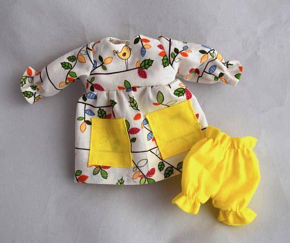 Doll Dress Bloomers  Bird & Leaf Print  Kids Toy  Doll