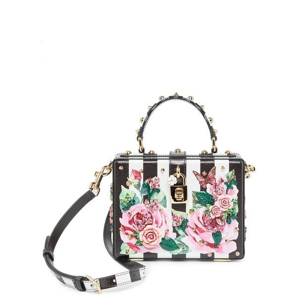 Dolce & Gabbana Embellished Rose & Checker Bag ($3,495) ❤ liked on Polyvore featuring bags, handbags, white handbag, real leather purses, white purse, leather man bags and white leather purse