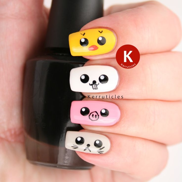 96 best nails images on pinterest nail scissors beauty and make cute and bright nail art each finger either yellow white pink and light prinsesfo Images