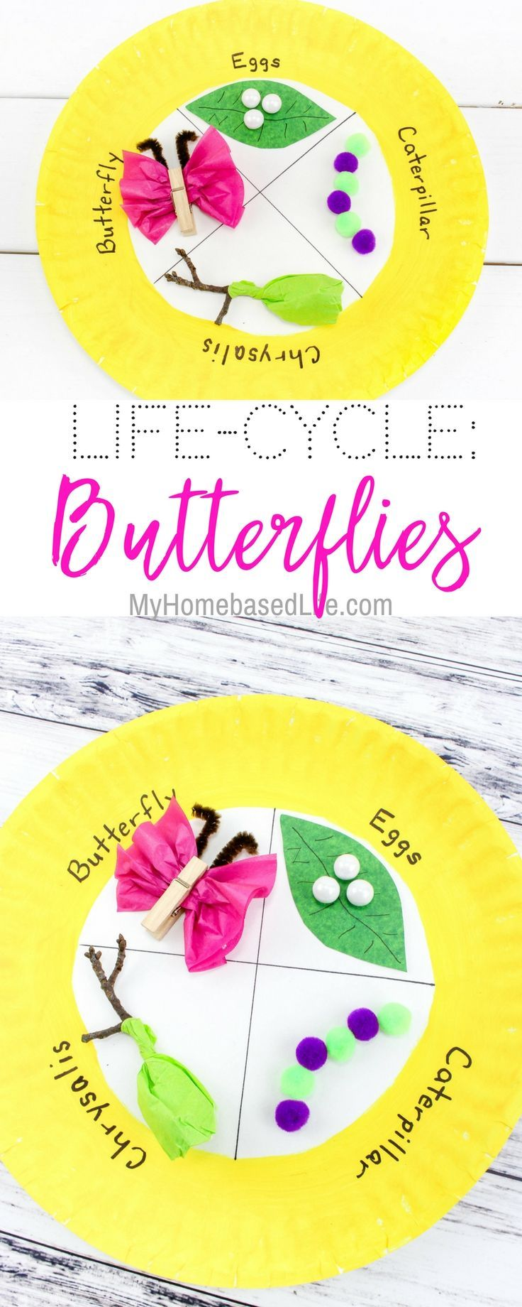 Dig into this simple craft activity for kids learning about the life cycle of a butterfly. This is a great science project idea as well. @science #homeschoolingactivities #lifecycles #metamorphosis #kidsactivity #myhomebasedlife | Homeschooling Lesson | Science Lessons | Life Cycles | Kids Activities | Kids Crafts | Simple Kids Crafts | Easy learning Activities | Science learning Activities via @myhomebasedlife