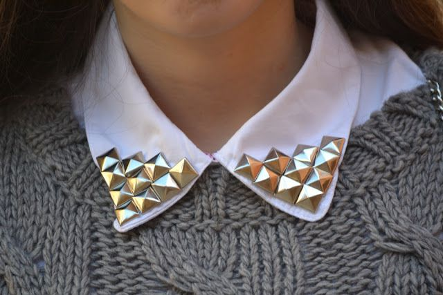 Buttoned up punk. I love me some pyramid studs ALL DAY LONG.