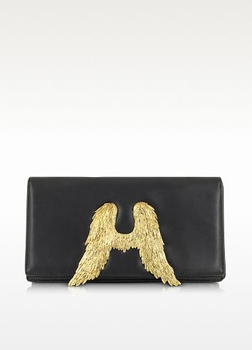 Bernard Delettrez Black Nappa Leather Clutch w/Angel Wings