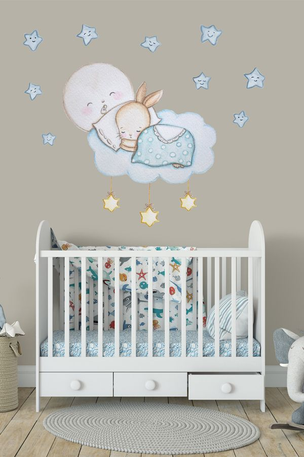 Hase Wandtattoo Sterne Sticker Babyzimmer Hase Wanddeko Kaninchen Wandsticker Hase Wandaufk In 2020 Nursery Wall Decals Nursery Wall Decor Boy Nursery Wall Decals Girl