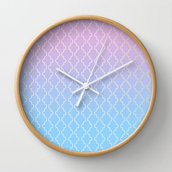Moroccan pattern in pink, blue and gold Wall Clock