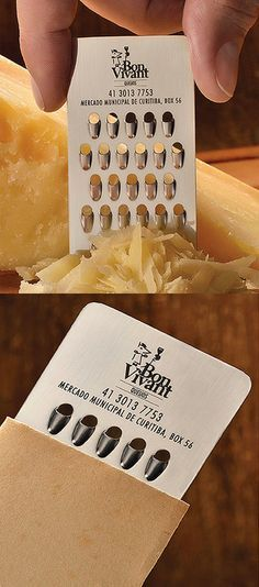 Awesome! A cheese shop with a cheese grater business card.