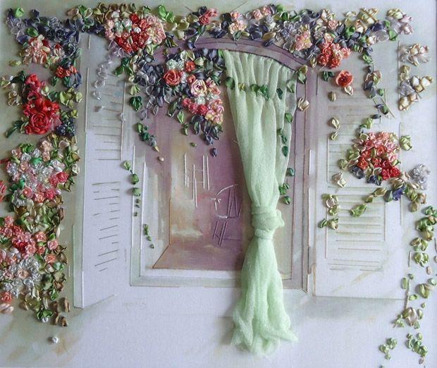 Ribbon embroidery bordado na janela