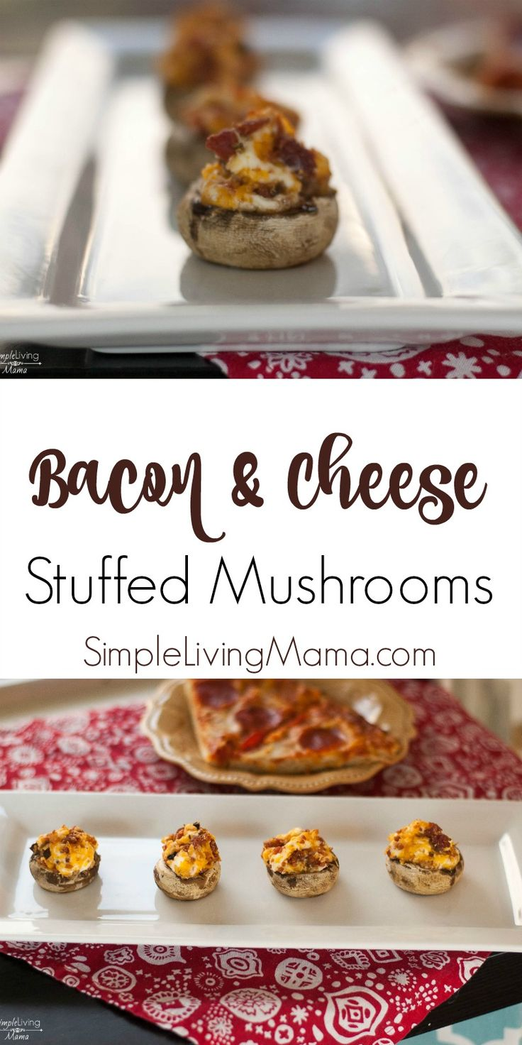 These bacon and cheese stuffed mushrooms are made with cream cheese, other cheeses and bacon for the perfect appetizer! Pair it with pizza before you head to the high school football game.