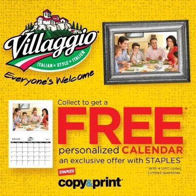 Collect only 4 UPC's from participating Villaggio products and get a FREE personalized calendar from Staples!