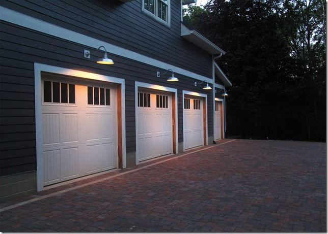 Barn Lighting, Gooseneck Lights Over Garage Doors