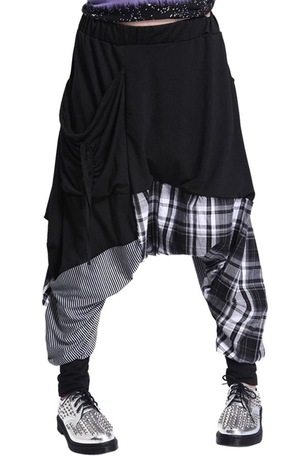Stripe Plaid Splicing Harem Pants
