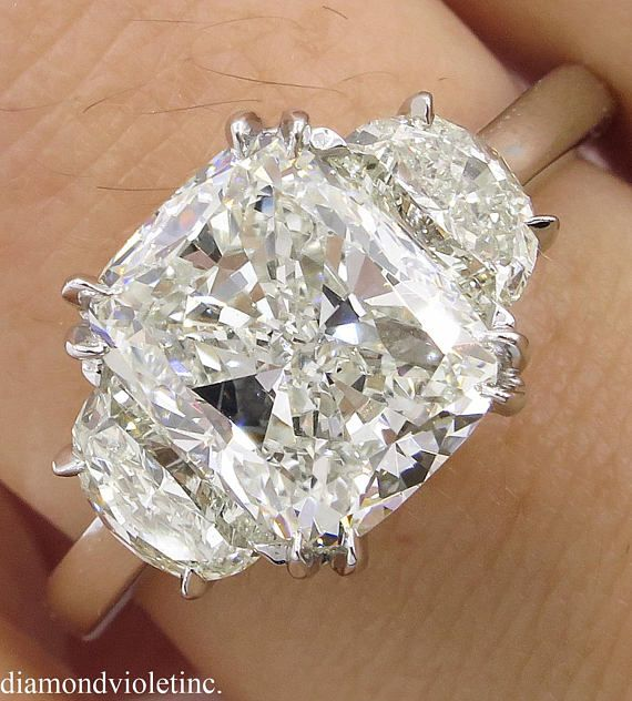 3.71ct Estate Vintage Cushion Diamond 3 Stone Engagement