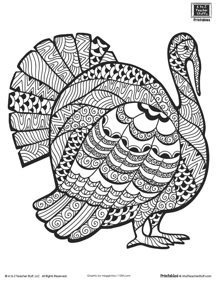 Advanced Coloring Page for Older Students or Adults: Thanksgiving Turkey {free printable}