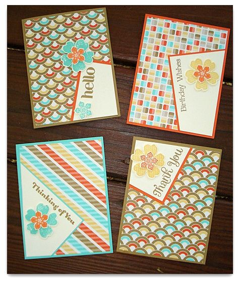 Stamp and Sew For Fun: Stampin' Classes - Offset Cards with Retro Fresh Designer Series Papers. Stampin' Up!
