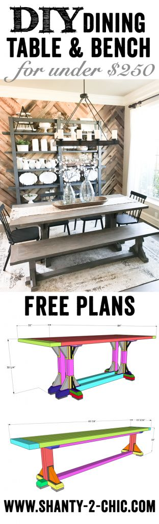 Build the entire dining set - Table and bench for under $250! Free plans at www.shanty-2-chic.com