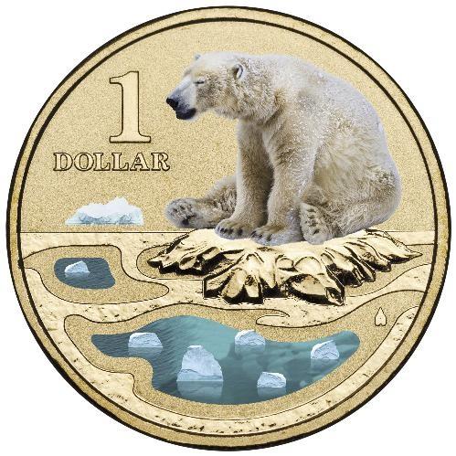 2013 $1 Polar Animals Polar Bear Coloured AL/BR Unc