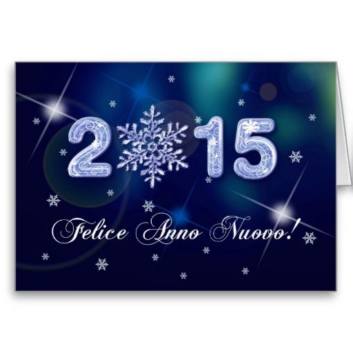 Felice Anno Nuovo 2015. Happy New Year 2015 Snowflake Design Greeting Card in Italian. Matching cards, postage stamps and other products available in the Christmas & New Year Category of our store.